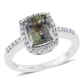 ILIANA 18K White Gold Very Rare AAA Natural Green Tanzanite (Cush 2.40 Ct), Diamond (SI G-H) Ring 2.630 Ct.