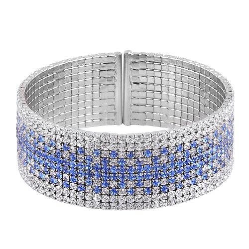 AAA White and Blue Austrian Crystal Cuff Bangle (Size 7.5) in Silver Tone