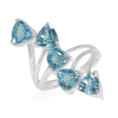 Swiss Blue Topaz (Trl) 5 Stone Crossover Ring in Sterling Silver 5.000 Ct.