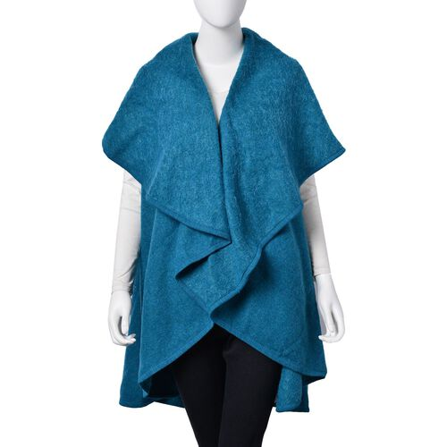 Designer Inspired-Super Soft Blue Colour Waterfall Gilet (Size 150X140 Cm)