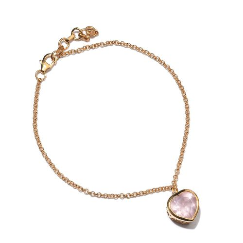 Rose Quartz (Hrt) Bracelet (Size 7.5 with 1 inch Extender) in 14K Gold Overlay Sterling Silver 3.250 Ct.