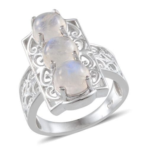 Ceylon Rainbow Moonstone (Rnd) Trilogy Ring in Platinum Overlay Sterling Silver 5.000 Ct.
