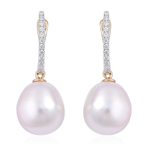 ILIANA 18K Yellow Gold AAAA South Sea White Pearl (Rnd 9.5-10mm) Earrings (with Clasp Lock) with Diamond (SI/G-H)