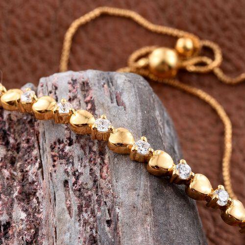J Francis - 14K Gold Overlay Sterling Silver (Rnd) Adjustable Heart Bracelet (Size 6.5 to 7.5) Made with SWAROVSKI ZIRCONIA