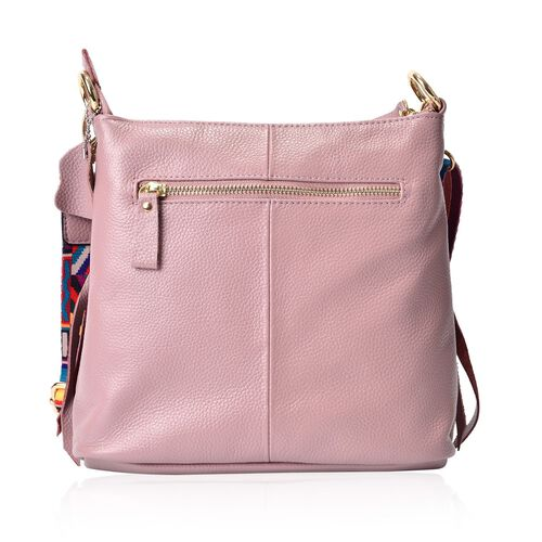 Genuine Leather Dusty Pink Colour Handbag with External Zipper Pocket and Adjustable and Removable Multi Colour Shoulder Strap (Size 25X23X8 Cm)
