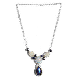 Jewels of India Drusy Agate and Fresh Water Pearl Necklace (Size 18) in Sterling Silver 77.960 Ct.