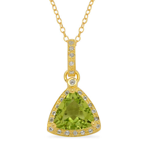 AA Hebei Peridot (Trl 2.40 Ct), White Topaz Pendant With Chain in 14K Gold Overlay Sterling Silver 2.560 Ct.