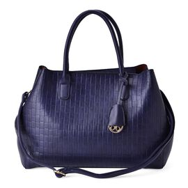Blue Colour Weave Pattern Tote Bag with Adjustable and Removable Shoulder Strap (Size 37x27x14 Cm)