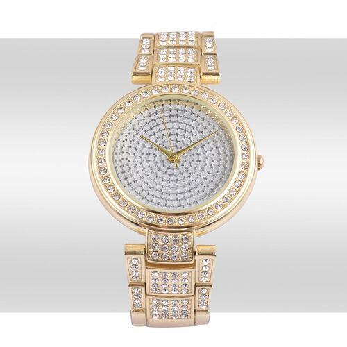 STRADA Japanese Movement Silver Stardust Dial with White Austrian Crystal Water Resistant Watch in Yellow Gold Tone with Stainless Steel Back