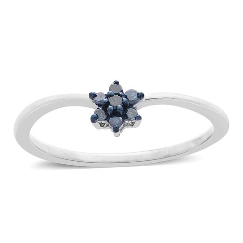 Blue Diamond (Rnd) 7 Stone Floral Ring in Rhodium Plated Sterling Silver 0.100 Ct.