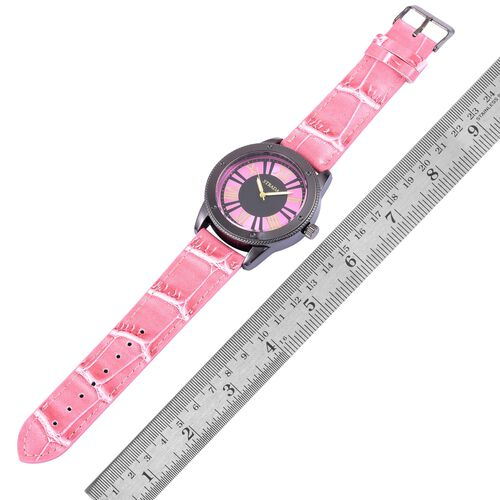 STRADA Japanese Movement Roman Numeral Dial Water Resistant Watch in Black Tone with Stainless Steel Back and Pink Colour Strap