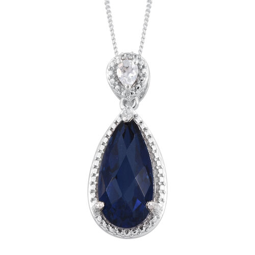 Checkerboard Cut Ceylon Colour Quartz (Pear 6.00 Ct), Natural Cambodian Zircon Pendant With Chain in Platinum Overlay Sterling Silver 6.200 Ct.