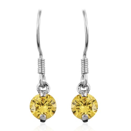 J Francis - Platinum Overlay Sterling Silver (Rnd) Hook Earrings (Two Prong Set)  Made with Yellow SWAROVSKI ZIRCONIA