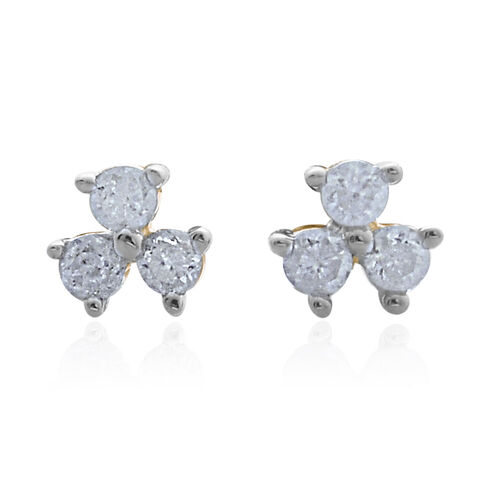 9K Yellow Gold SGL Cerified Trilogy Diamond Stud Earrings with Push Back (I3/G-H)