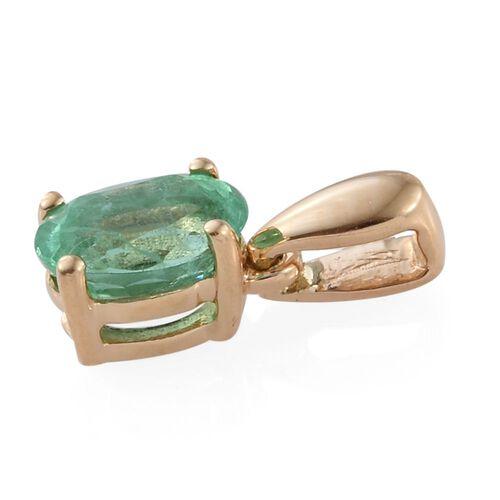 ILIANA 18K Yellow Gold 0.50 Carat AAA Boyaca Colombian Emerald Oval Solitaire Pendant