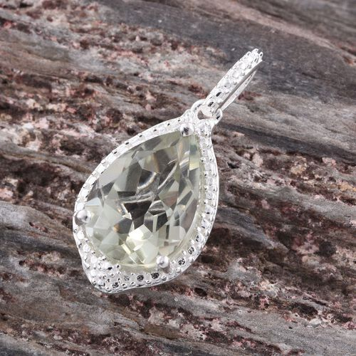 Green Amethyst (Pear) Solitaire Pendant in Sterling Silver 3.500 Ct.