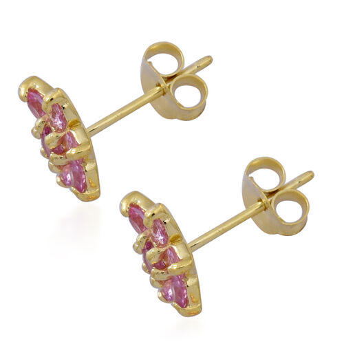 Pink Sapphire (Rnd) Floral Stud Earrings in 14K Gold Overlay Sterling Silver 1.250 Ct.