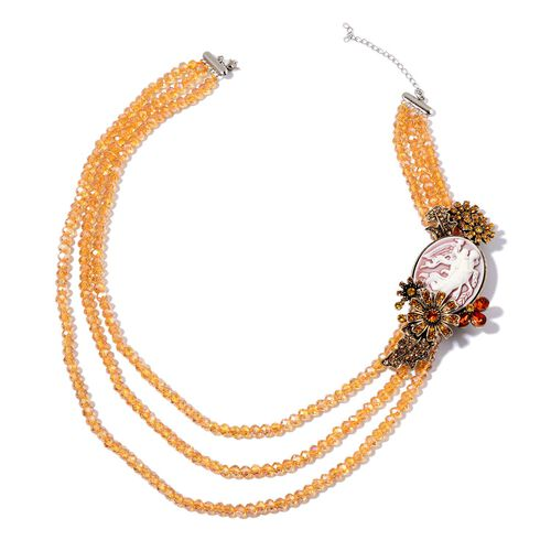 Cameo, Brown Austrian Crystal, Simulated Smoked Topaz, Yellow Austrian Crystal and Champagne Colour Beads Brooch or Necklace (Size 20) in Silver and Gold Tone 332.000 Ct.
