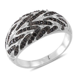 Red Carpet Collection-Boi Ploi Black Spinel (Rnd) Ring in Rhodium Plated Sterling Silver 1.000 Ct.