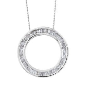 Diamond (Bgt) Circle of Life Pendant With Chain in Platinum Overlay Sterling Silver 0.500 Ct.