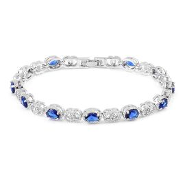 AAA Simulated Blue Sapphire Bracelet (Size 7.5) in Silver Tone