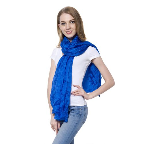 New Season-100% Mulberry Silk Pantone Lapis Blue Colour Scarf (Size 180x110 Cm)