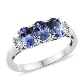 Tanzanite (Ovl), Diamond Ring in Platinum Overlay Sterling Silver 1.350 Ct.