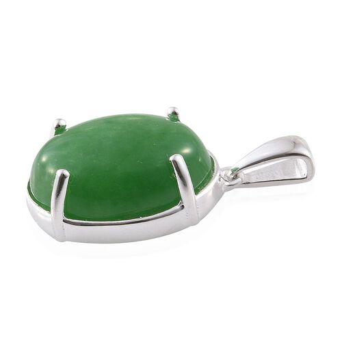 Green Jade (Ovl) Pendant in Sterling Silver 12.000 Ct.