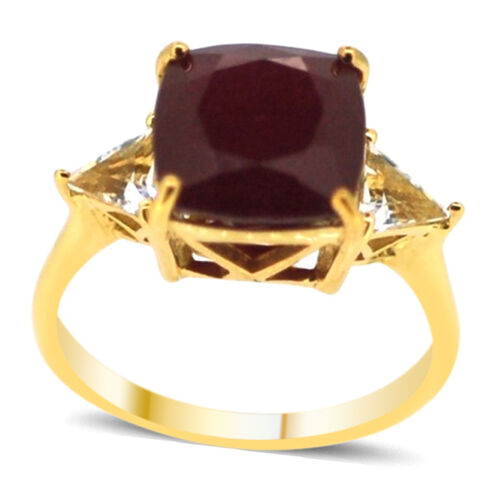 African Ruby (Cush 9.00 Ct), White Topaz Ring in 14K Gold Overlay Sterling Silver 10.000 Ct.