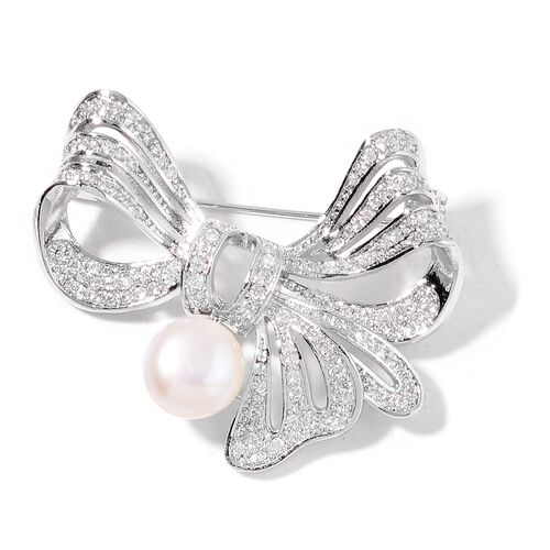 Fresh Water White Pearl and Simulated White Diamond Bow Knot Brooch in Silver Tone