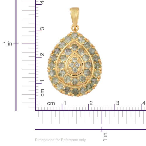 Songea Green Sapphire (Rnd) Pendant in 14K Gold Overlay Sterling Silver 3.500 Ct.