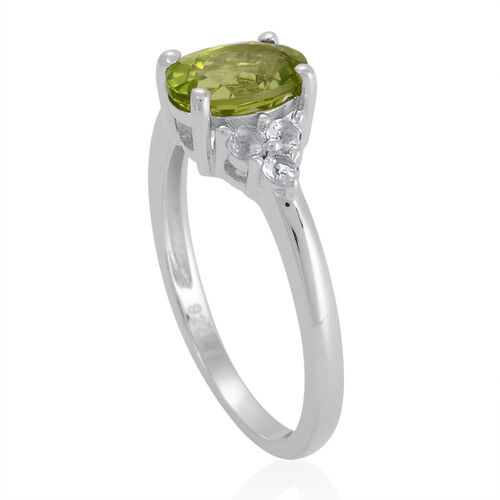 Hebei Peridot (Ovl 1.25 Ct), White Topaz Ring in Platinum Overlay Sterling Silver 1.500 Ct.