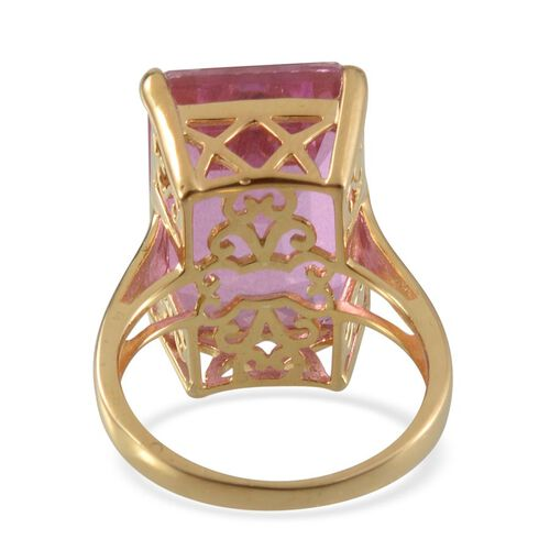Kunzite Colour Quartz (Oct) Ring in 14K Gold Overlay Sterling Silver 19.500 Ct.