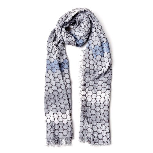 Designer Inspired-White, Grey and Multi Colour Honeycomb Pattern Scarf with Fringes (Size 180X90 Cm)