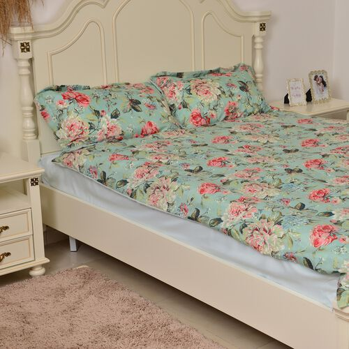 King Size Green and Multi Colour Floral and Leaves Reversible SUMMER Quilt (Size 260X240 Cm) and 2 Pillow Shams (Size 70X50 Cm)