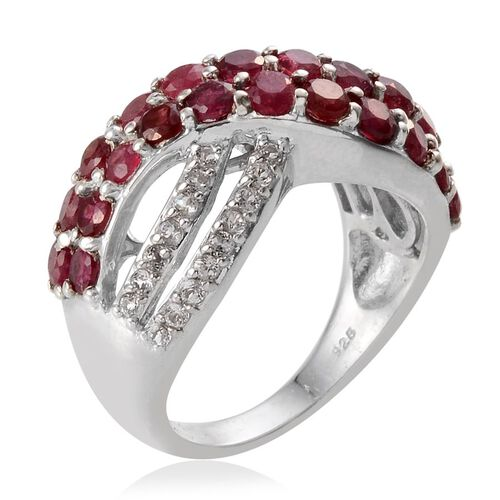 African Ruby (Rnd), White Topaz Criss Cross Ring in Platinum Overlay Sterling Silver 5.250 Ct.