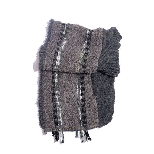 Italian Designer Inspired-Purple, Taupe and Grey Colour Winter Scarf with Fringes (Size 175x90 Cm)