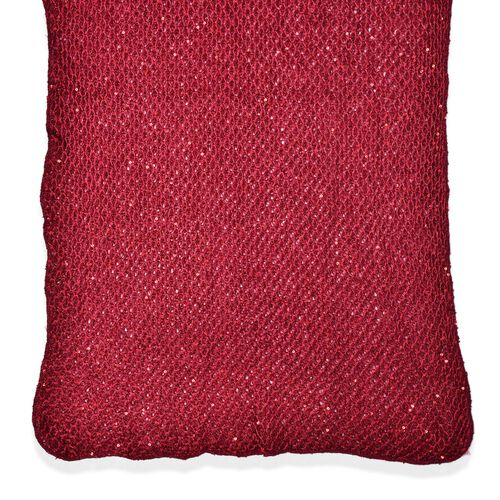 Net Design Red Colour Scarf with Sequins (Size 180x60 Cm)