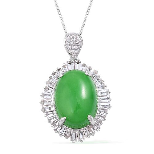 Green Jade (Ovl 11.25 Ct), White Topaz BALLERINA Pendant With Chain in Rhodium Plated Sterling Silve