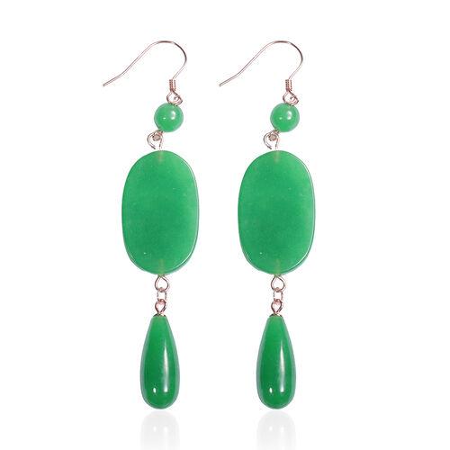 Burmese Green Jade Hook Earrings in Rose Gold Overlay Sterling Silver 60.00 Ct.