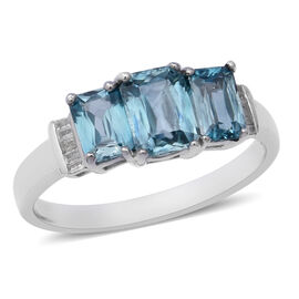 3.36 Carat Blue Zircon and Diamond Trilogy Design Ring in Sterling Silver