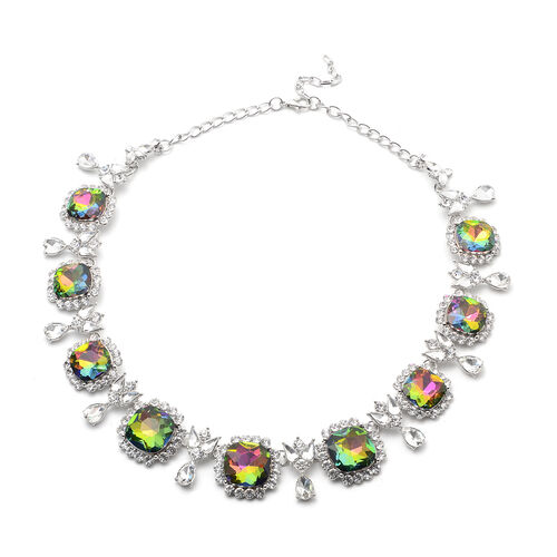 2 Piece Set - Simulated Mystic Topaz, Simulated Diamond and White Austrian Crystal Stud Earrings and Adjustable Necklace (Size 18-22) in Silver Tone