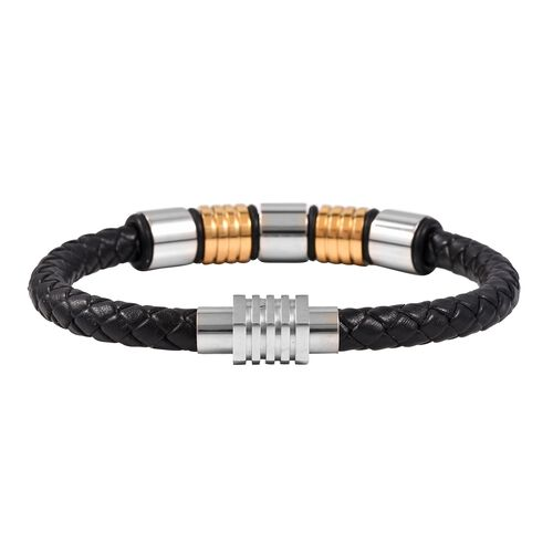 Genuine Braided Leather Bracelet (Size 7.5) in Dual Tone