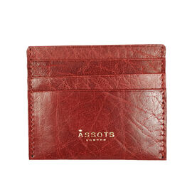 Assots London FANN Paprika Red Vintage leather Compact RFID Credit Card Holder (Size 10x8.5 Cm)