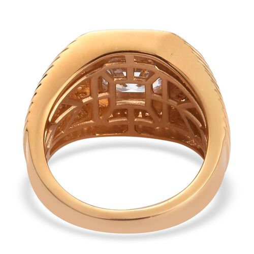 J Francis - 14K Gold Overlay Sterling Silver Ring made with SWAROVSKI ZIRCONIA 5.21 Ct, Silver wt. 8.44 Gms