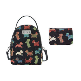 Signare Tapestry - 2 Piece Set - Playful Puppy Bagpack (17X6X22cm) and Cosmetic Bag (11X1.5X8cm) in
