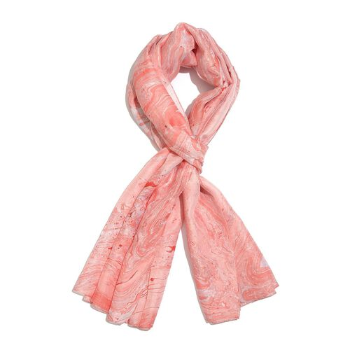 100% Mulberry Silk Peach and Blue Colour Marble Hand Screen Printed Scarf (Size 180X100 Cm)