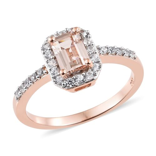 Marropino Morganite (Oct 1.00 Ct), Natural Cambodian Zircon Ring in Sterling Silver 1.500 Ct.