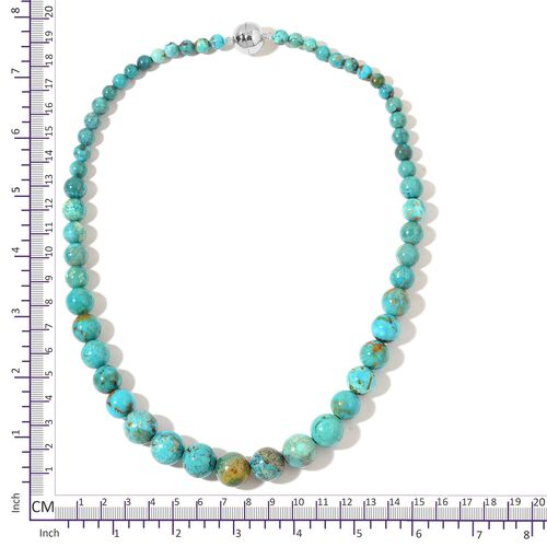 Very Rare Anhui Turquoise Necklace (Size 20) with Magnetic Clasp in Rhodium Plated Sterling Silver 377.50 Ct.