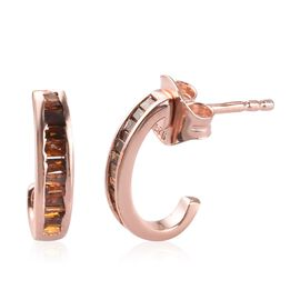 DOD - Red Diamond J Hoop Earrings (with Push Back) in Rose Gold Sterling Silver 0.25 Ct.